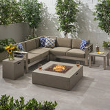 Outdoor 5 Seater Aluminum Chat Set with Fire Pit - NH485903
