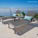 Outdoor Grey Aluminum Chaise Lounge with Dark Grey Mesh Seat - NH897103