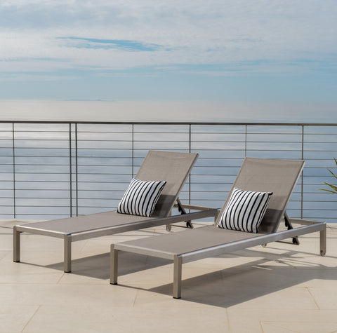 Outdoor Modern Gray Mesh Chaise Lounge with Wheels (Set of 2) - NH268692
