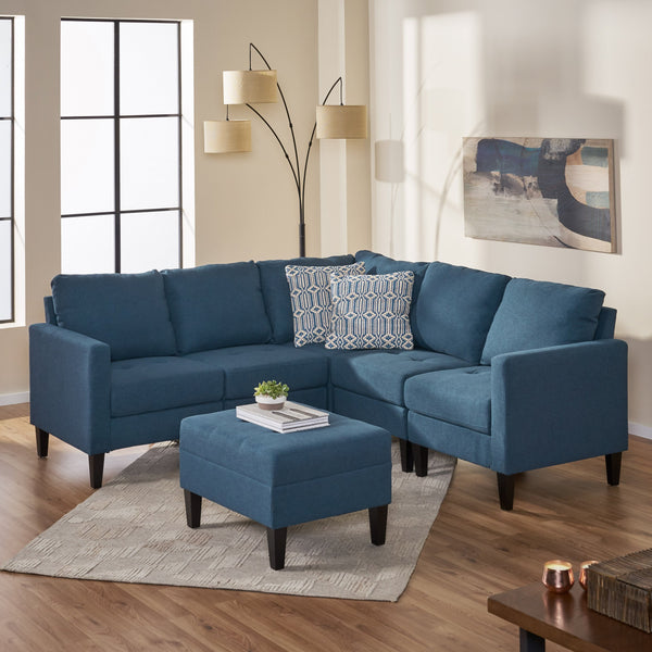 Fabric Sectional Couch with Ottoman - NH811003