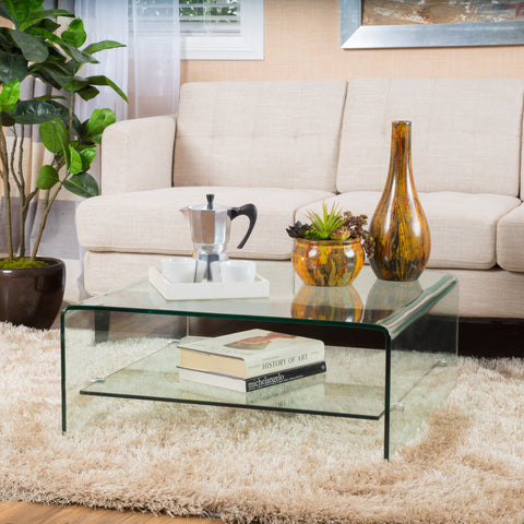 Modern Square Tempered Glass Coffee Table with Shelf - NH027692