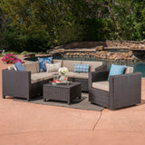 Outdoor 6 Seater Wicker V-Shaped Sofa and Swivel Chair Set with Water Resistant Cushions - NH470403