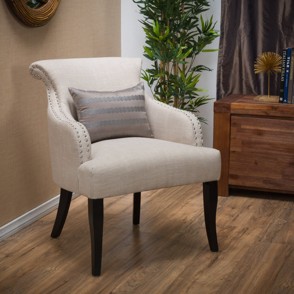 Light Beige Fabric Accent Chair - NH536692