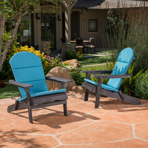 Outdoor Acacia Wood Folding Adirondack Chairs with Cushions - NH136403