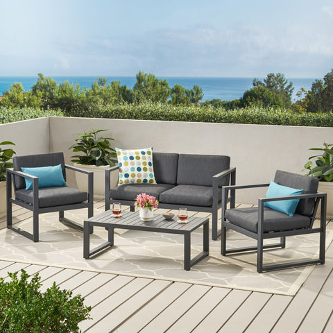 Modern Outdoor 4-Piece Dark Gray Aluminum Chat Set with Cushions - NH962792