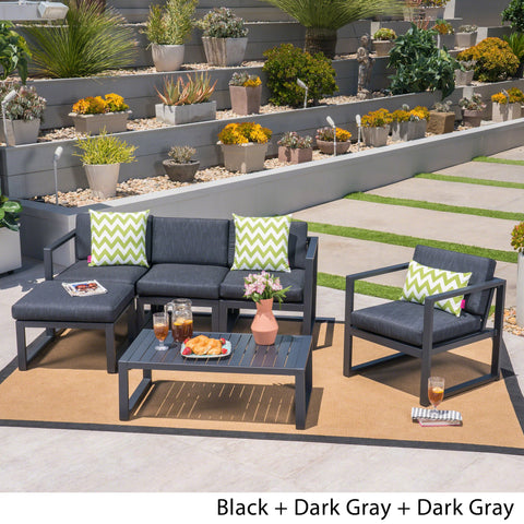 Outdoor 4-Seater Aluminum Sofa Set with Ottoman and Coffee Table, Black and Dark Gray - NH909503