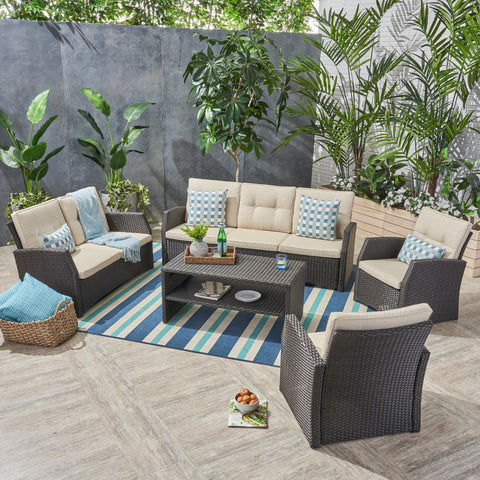 Outdoor 7 Seater Wicker Chat Set - NH381503