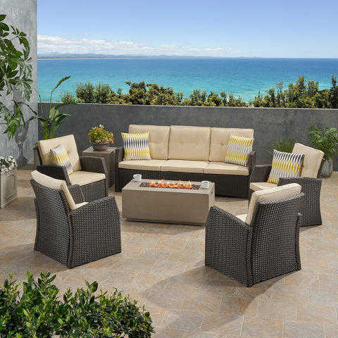 Outdoor 7 Seater Wicker Chat Set with Light Weight Concrete Fire Pit - NH412503