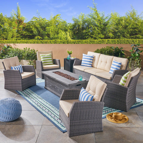 Outdoor 7 Seater Wicker Chat Set with Wood Finished Fire Pit, Gray and Gray - NH581503