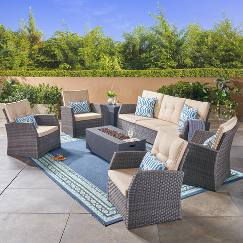 Outdoor 7 Seater Wicker Chat Set with Light Weight Concrete Fire Pit, Gray and Dark Gray - NH312503