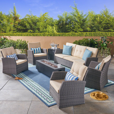 Outdoor 7 Seater Wicker Chat Set with an Iron Fire Pit, Gray and Dark Gray - NH781503