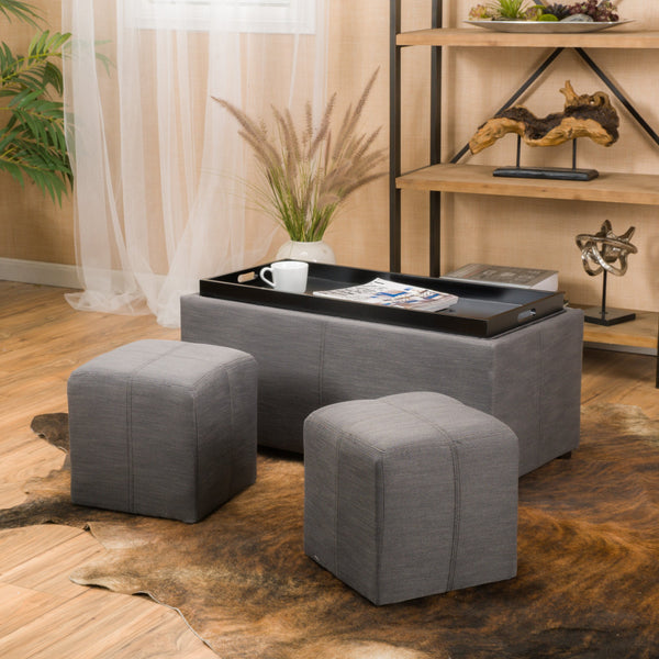 3pc Nested Tray Top Gray Fabric Storage Ottoman & Poufs - NH728692