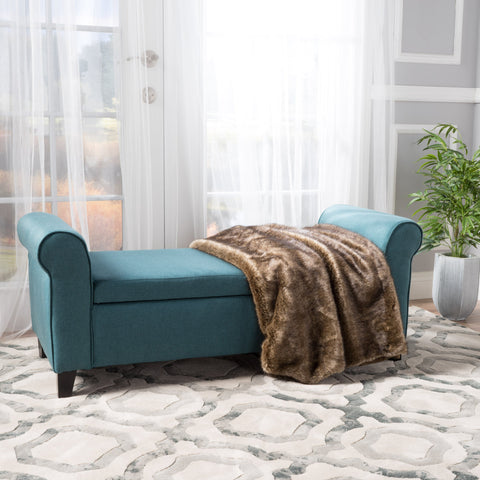 Fabric Upholstered Storage Ottoman Bench with Rolled Arms - NH947992