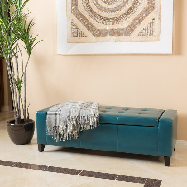 Teal Leather Storage Ottoman Bench - NH557692