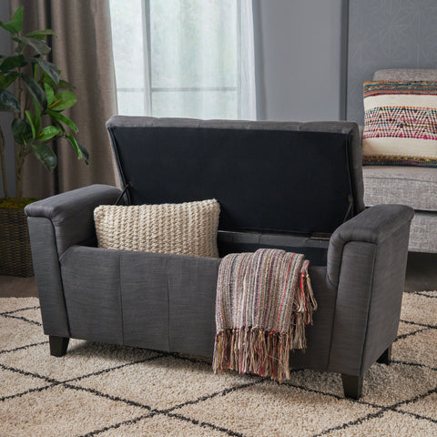 Beige Tufted Fabric Armed Storage Ottoman Bench - NH467692