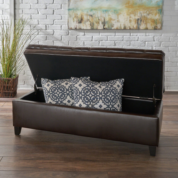 Button Tufted Brown Faux Leather Storage Ottoman - NH568692