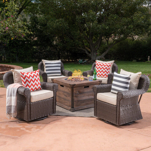 Outdoor 5 Piece Wicker Swivel Club Chair with Aluminum Frame and Fire Pit Set, Dark Brown with Beige and Brown - NH253403