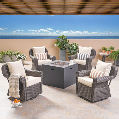 Outdoor 4 Piece Swivel Club Chair Set with Square Fire Pit - NH182503