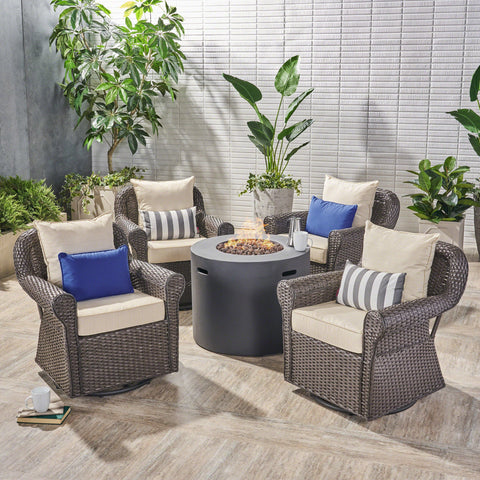 Outdoor 4 Piece Swivel Club Chair Set with Round Fire Pit - NH882503