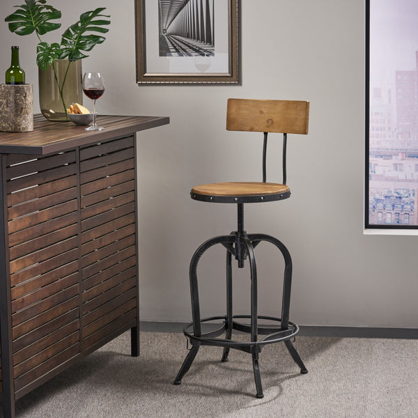 Naturally Antique Fir Wood Adjustable Barstool With Backrest - NH829692