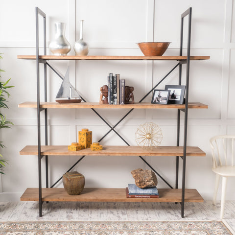 Industrial 4 Shelf Firwood Bookcase - NH354892