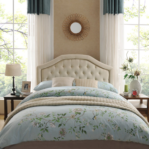 Contemporary Queen/Full Beige Upholstered Headboard w/ Nailhead Accents - NH974892
