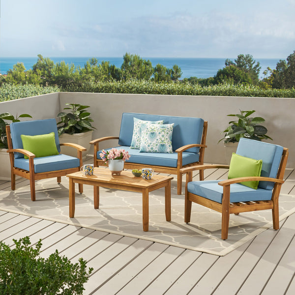 4 Pc Acacia Wood Chat Set W Water Resistant Cushions Nh501992 Noble House Furniture