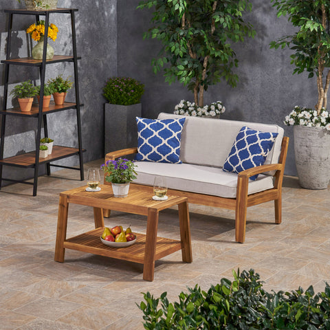 Outdoor Acacia Wood Loveseat and Coffee Table Set with Sunbrella Cushions - NH172703