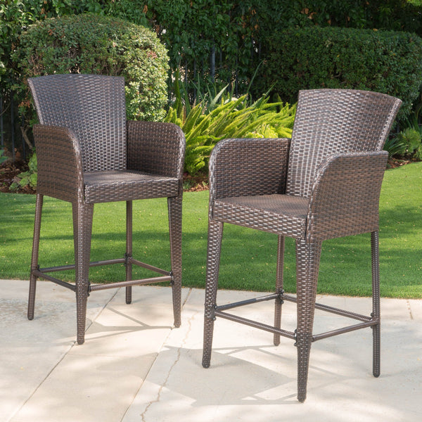 28-Inch Contemporary Outdoor Multibrown Wicker Barstool - NH998892