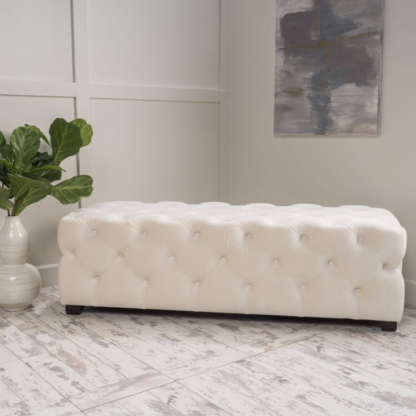 Cream Tufted Rectangular Ottoman - NH630992