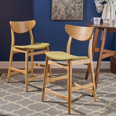 Oak Finish Mid Century Design 24-Inch Counter Stools (Set of 2) - NH269892