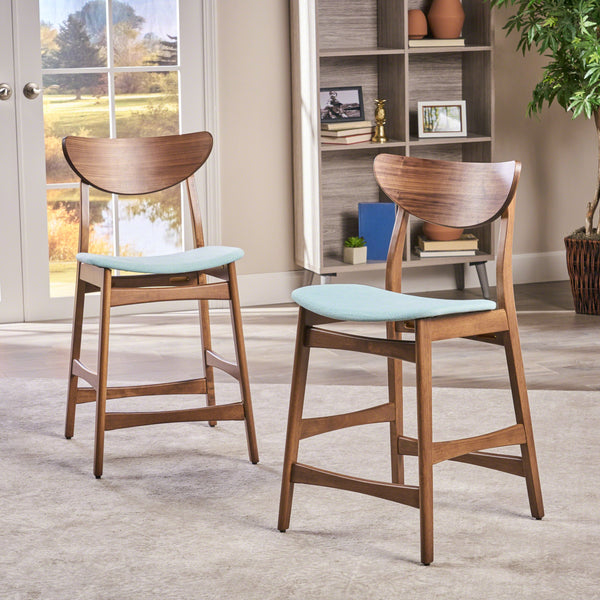 Walnut Finish Mid-Century Modern 24-Inch Counter Stools (Set of 2) - NH469892