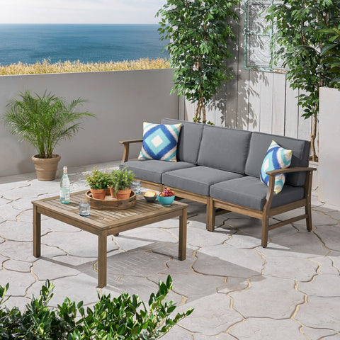 Outdoor 4 Piece Acacia Wood Sofa and Coffee Table Set - NH813803