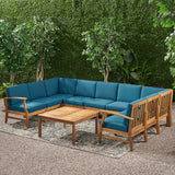 Outdoor 9 Seater Acacia Wood Sectional Sofa Set with Cushions - NH757403