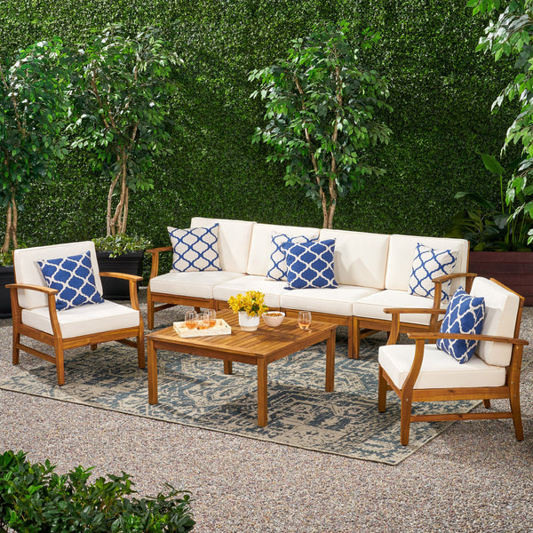 Outdoor 6 Seat Teak Finished Acacia Wood Sofa and Table Set - NH327303