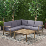 Outdoor 6 Piece Acacia Wood Sectional Sofa and Coffee Table Set - NH423803