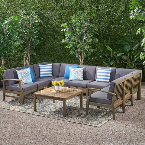 Outdoor 10 Piece Acacia Wood Sofa Sectional Set - NH233803