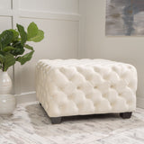 Cream Tufted Square Ottoman - NH530992