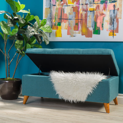 Mid-Century Modern Button Tufted Fabric Storage Ottoman Bench - NH488892