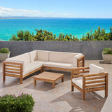 Outdoor 6 Seater Acacia Wood Sectional Sofa and Club Chair Set - NH474803