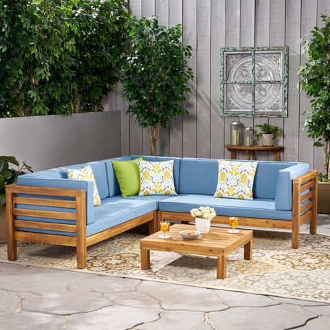4 Piece Outdoor Wooden Sectional Set w/ Dark Grey Cushions - NH811992