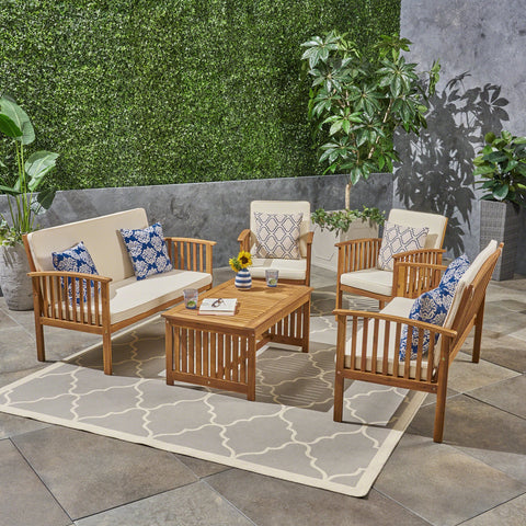 Outdoor 5-Piece Acacia Wood Sofa Set - NH970603