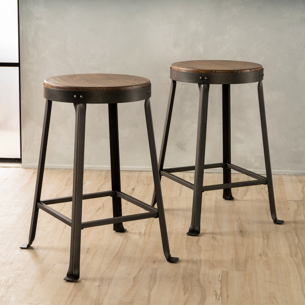 24 Inch Brown Weathered Wood Counter Stool Set Of 2 Nh390992 Noble House Furniture