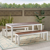 Outdoor Contemporary 3 Piece Acacia Wood Picnic Dining Set with Benches - NH985992