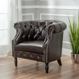 Rolled Back Button Tufted Leather Tub Design Club Chair - NH674992