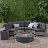 Outdoor 6 Piece Mixed Black Wicker Half Round Sofa Set with Dark Grey Fire Table - NH288992