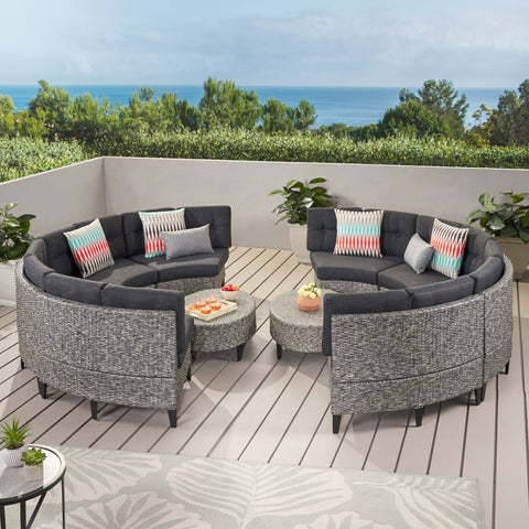 Outdoor 10 Piece Mixed Black Wicker Sofa Set with Dark Grey Water Resistant Fabric Cushions - NH516992