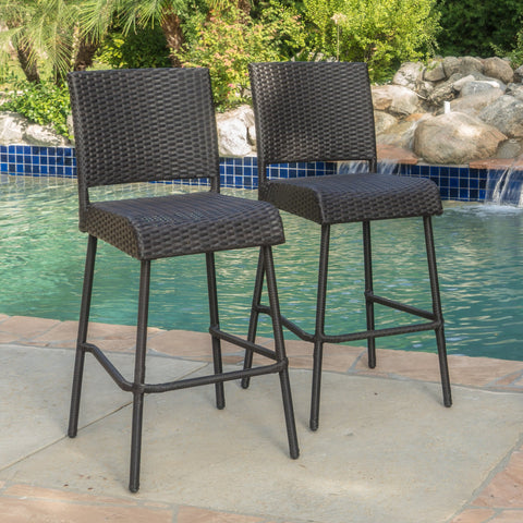 29-Inch Outdoors Dark Brown Wicker Barstools (Set of 2) - NH525992