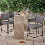 "Bar Stools, Pub-Height, 29.5"" Seats, Gray Wicker (Set of 4) - NH902703"