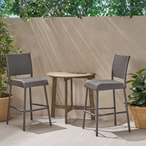 Outdoor 2 Seater Half-Round Wood and Wicker Bistro Set with Folding Table - NH228903